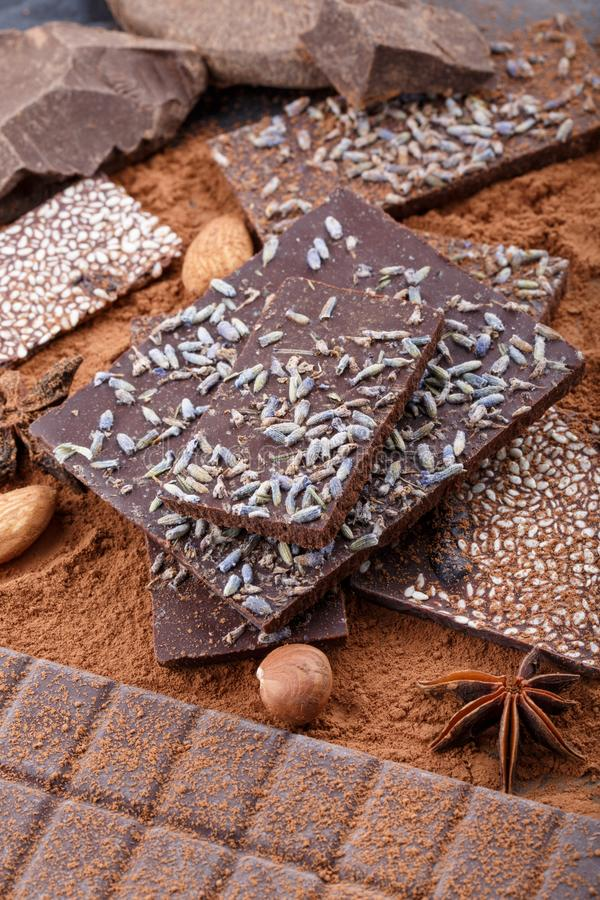 Verschillende types van chocoladerepen Organische artisanale chocolade royalty-vrije stock fotografie