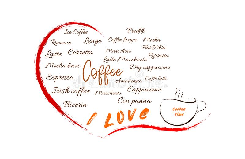 Verschillende types van coffe in een open hart stock illustratie