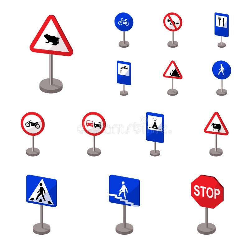 Verschillende types van de pictogrammen van het verkeerstekenbeeldverhaal in vastgestelde inzameling voor ontwerp Waarschuwing en royalty-vrije illustratie