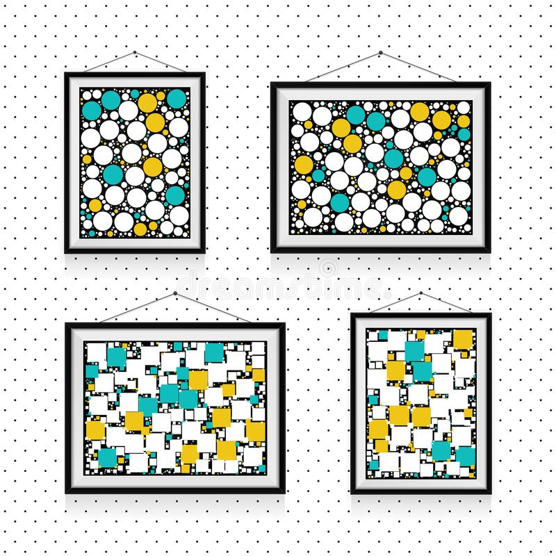 Verschillende types van fotokaders met cirkels en vierkanten op de muur - achtergrondmalplaatje stock illustratie