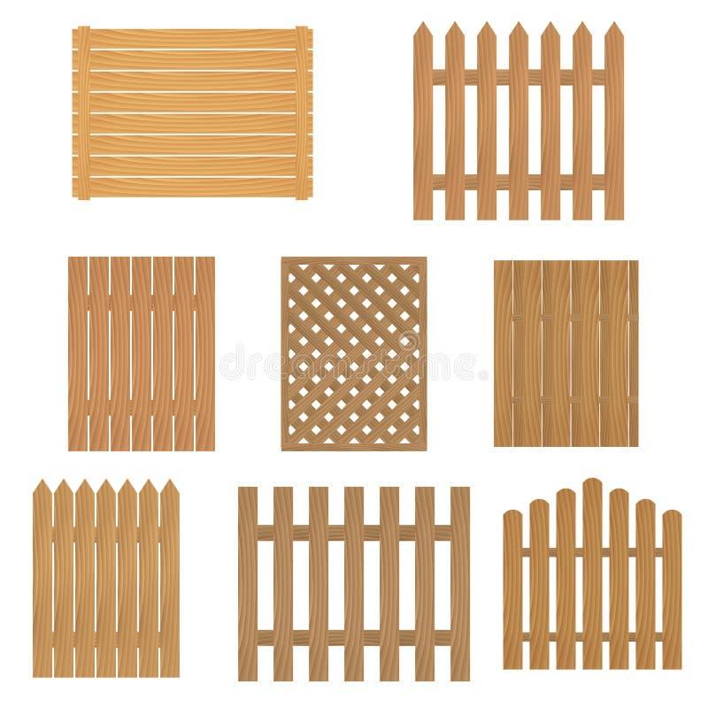 Verschillende types van houten omheining Omheining van hout voor uw plaats of landbouwbedrijf stock illustratie