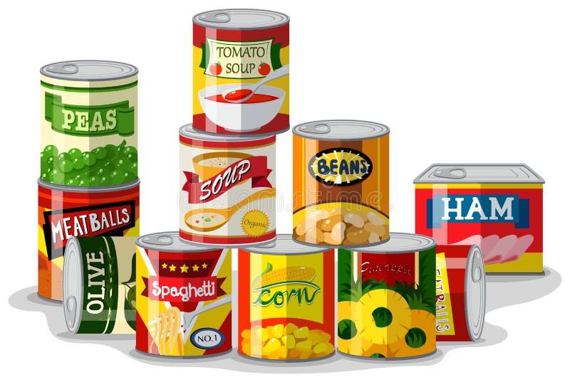 Verschillende types van ingeblikt voedsel royalty-vrije illustratie