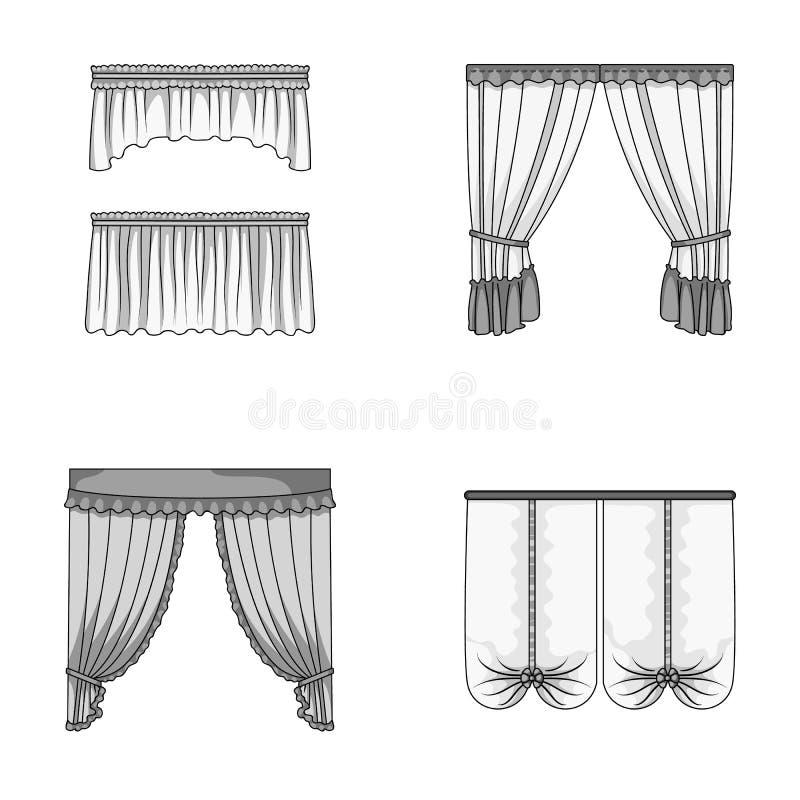 Verschillende types van venstergordijnen Gordijnen geplaatst inzamelingspictogrammen in zwart-wit de voorraadillustratie van het  vector illustratie