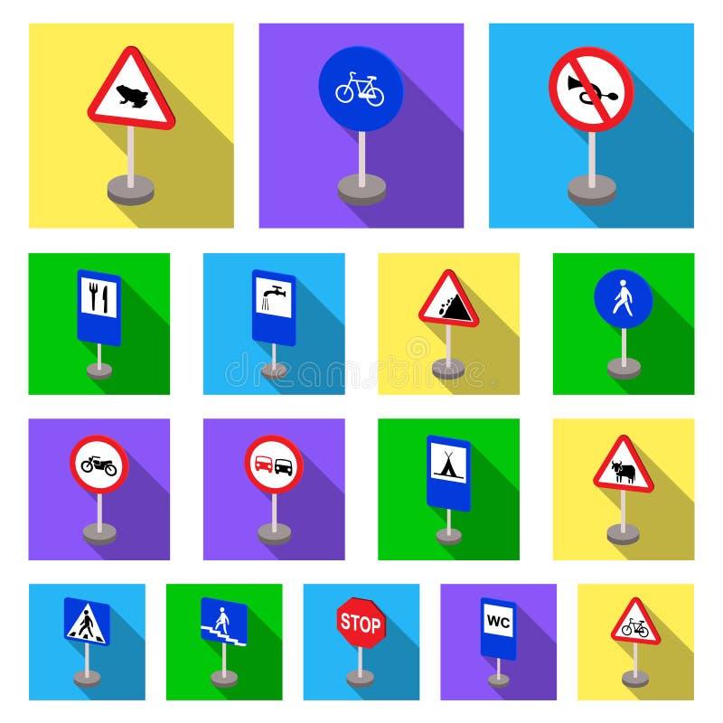 Verschillende types van verkeersteken vlakke pictogrammen in vastgestelde inzameling voor ontwerp Waarschuwing en verbodsvoorraad stock illustratie