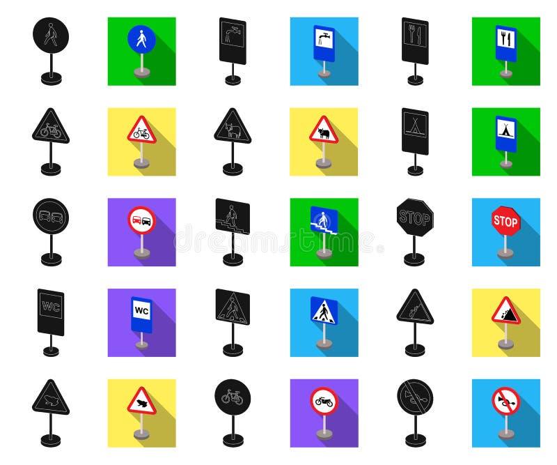 Verschillende types van verkeersteken zwarte, vlakke pictogrammen in vastgestelde inzameling voor ontwerp Waarschuwing en verbods stock illustratie