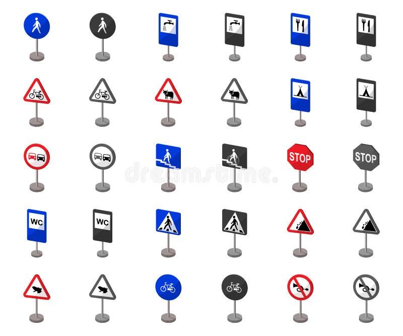Verschillende types van verkeerstekenbeeldverhaal, monochrom pictogrammen in vastgestelde inzameling voor ontwerp Waarschuwing en vector illustratie