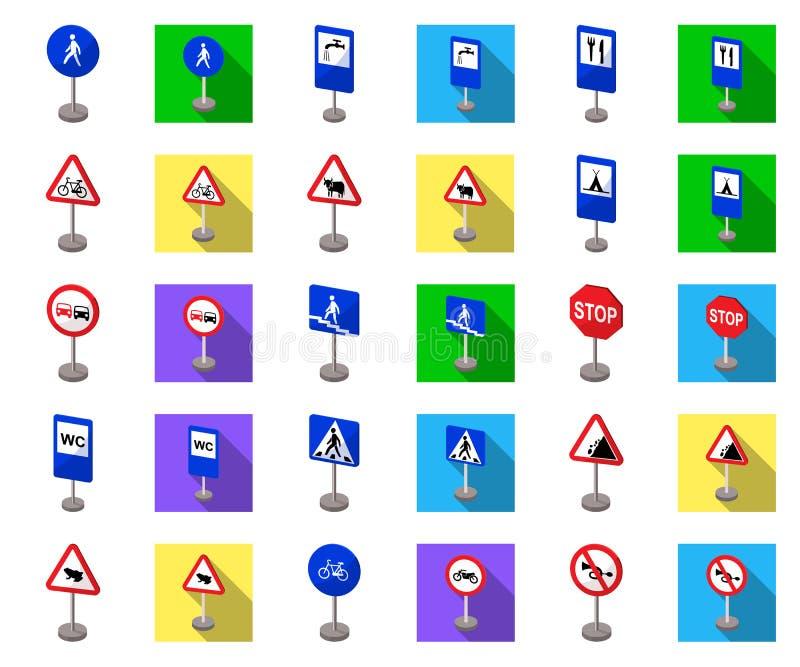 Verschillende types van verkeerstekenbeeldverhaal, vlakke pictogrammen in vastgestelde inzameling voor ontwerp Waarschuwing en ve royalty-vrije illustratie
