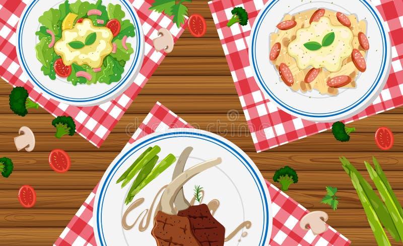 Verschillende types van voedsel op houten lijst vector illustratie