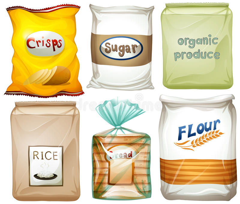 Verschillende types van voedsel in zakken stock illustratie