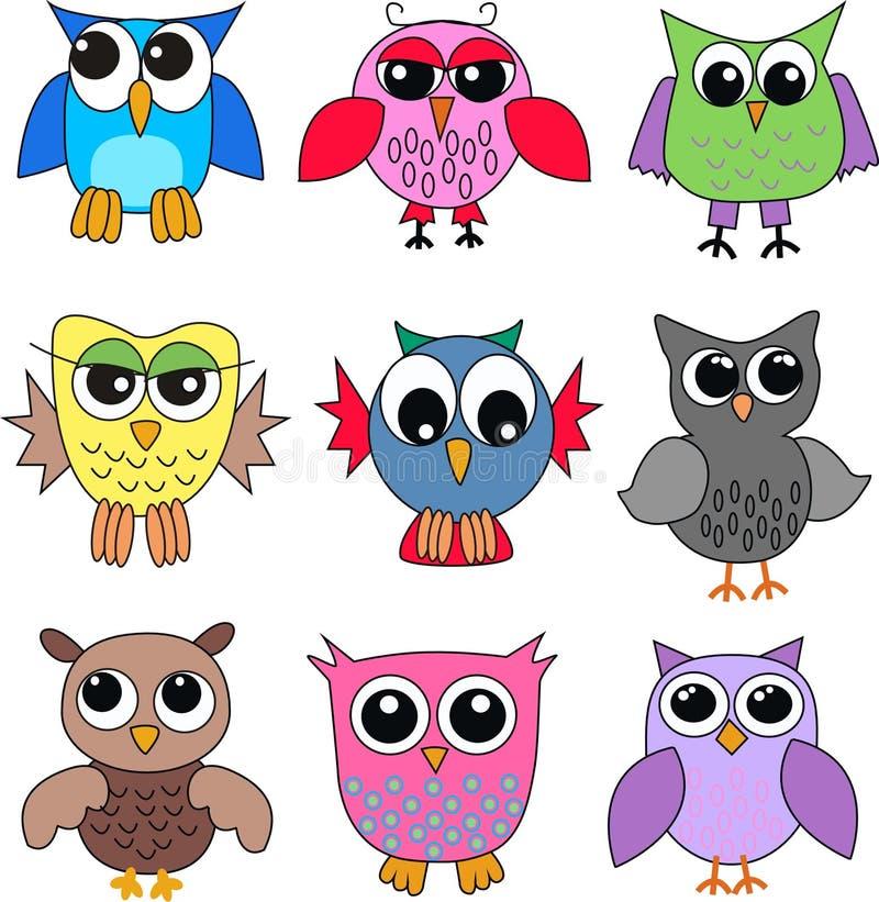 Verschillende uilen vector illustratie