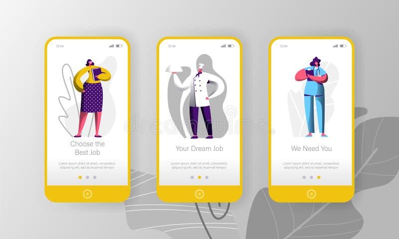 Verschillende van het de Kanskarakter van de Baanvacature Hurende van de de Mobiele toepassingpagina het Scherm Vastgestelde Chef royalty-vrije illustratie