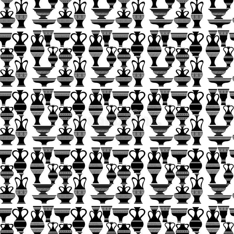 Verschillende Vazen Naadloos van Amforapatroon vector illustratie