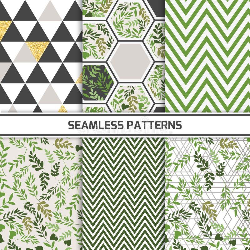 Verschillende vector naadloze patronen, natuurlijk concept De eindeloze textuur kan voor behang worden gebruikt, vult het patroon stock illustratie