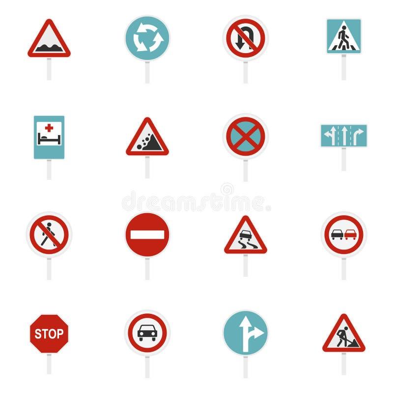 Verschillende verkeersteken geplaatst vlakke pictogrammen vector illustratie