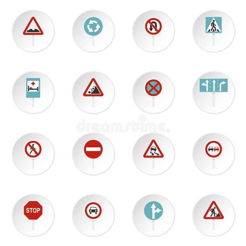 Verschillende verkeersteken geplaatst vlakke pictogrammen royalty-vrije illustratie