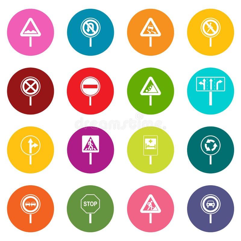 Verschillende verkeerstekenpictogrammen vele geplaatste kleuren royalty-vrije illustratie