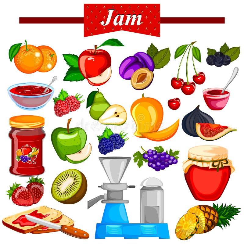 Verschillende verscheidenheid van Fruitjam en Geleiingrediënt vector illustratie