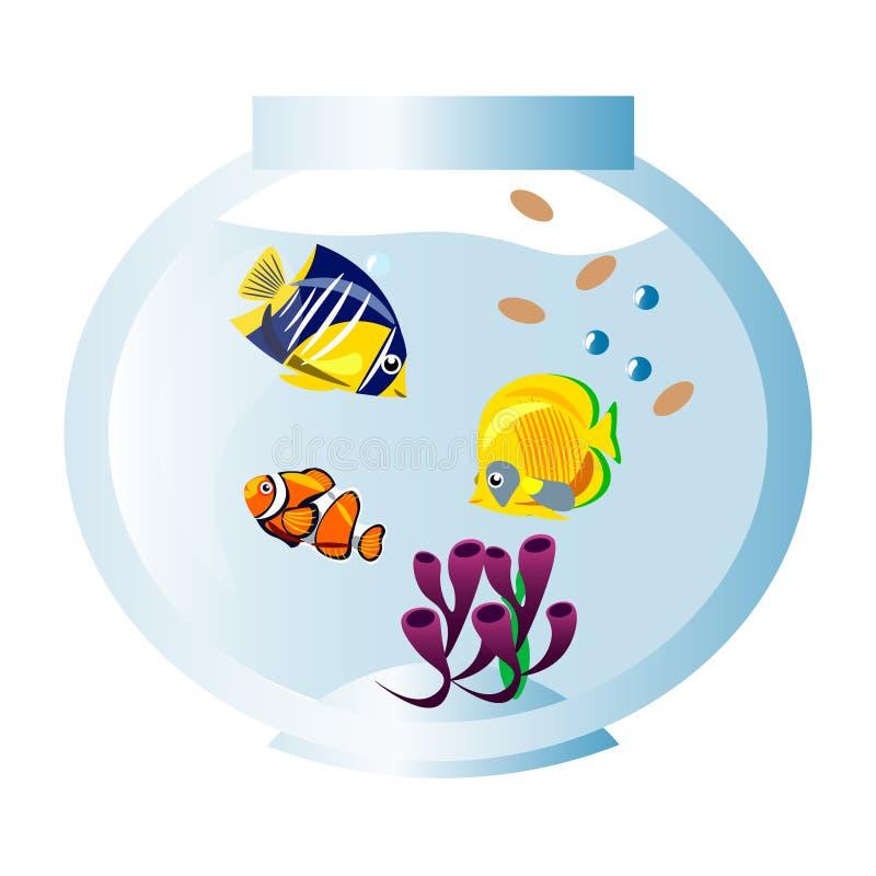 Verschillende vissen in aquarium royalty-vrije illustratie