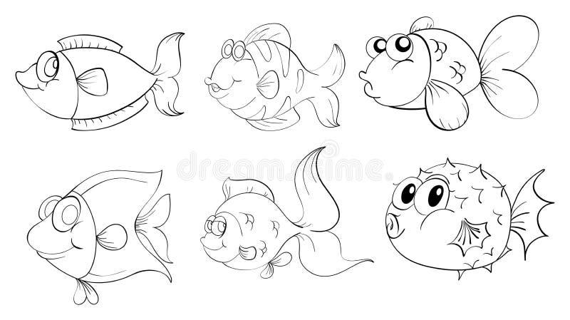 Verschillende vissen in een krabbelontwerp vector illustratie