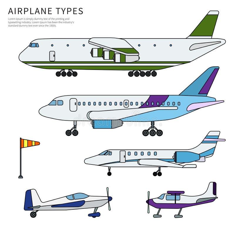 Verschillende vlak geïsoleerde vliegtuigenlijn royalty-vrije illustratie