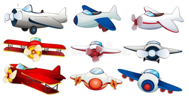 Verschillende vliegtuigontwerpen royalty-vrije illustratie