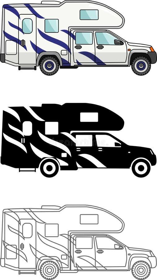 Verschillende vriendelijke auto en reisaanhangwagens die op witte achtergrond in vlakke stijl worden geïsoleerd: gekleurd, zwart  vector illustratie