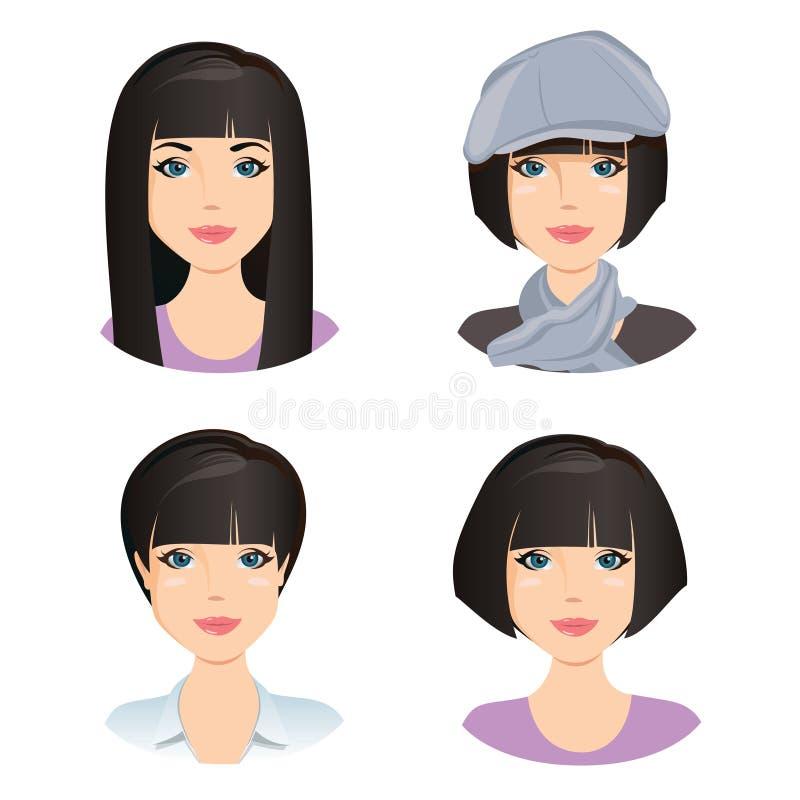 Verschillende vrouwelijke kapsels, kapsels Voor het meisje, jonge volwassene, vrouw met zwart haar royalty-vrije illustratie