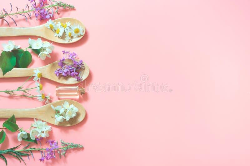 Verschillende weide wilde bloemen op roze achtergrond Bloemensamenstelling met exemplaarruimte Mening van hierboven Zeep, handdoe stock afbeelding