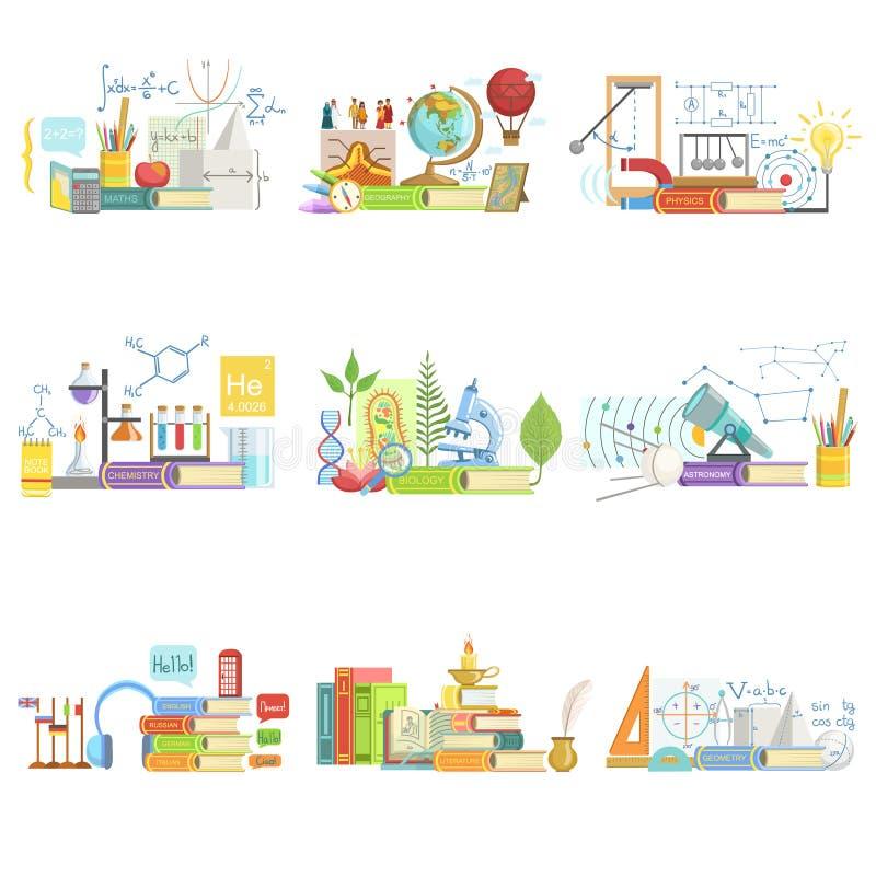 Verschillende Wetenschappen Verwante Objecten Samenstelling stock illustratie