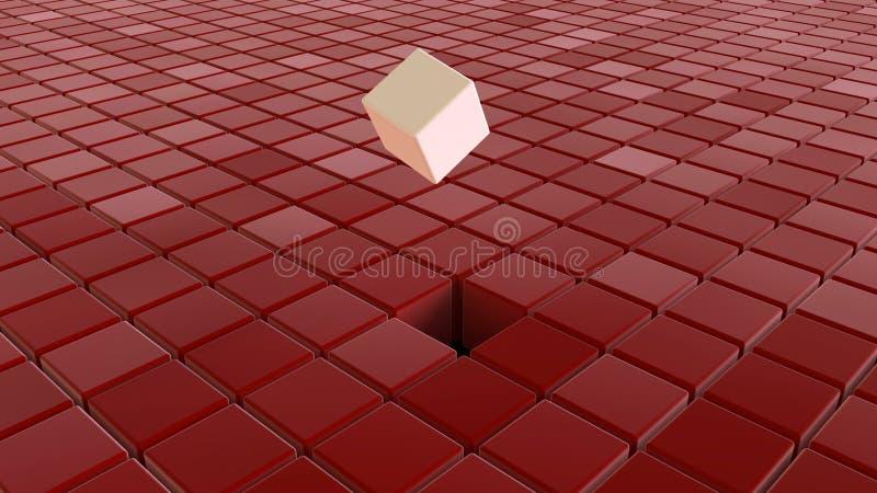 Verschillende witte kubussen onder rode kubussen royalty-vrije stock fotografie