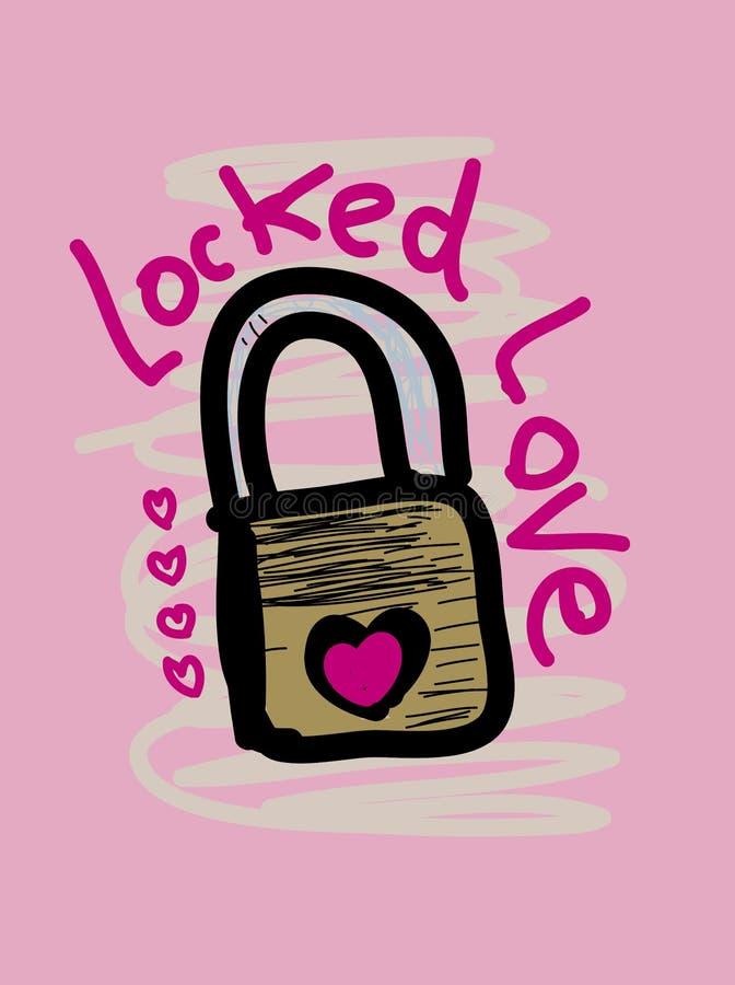 Verschlossene Liebest-shirt Entwurfsmode für Mädchen stock abbildung