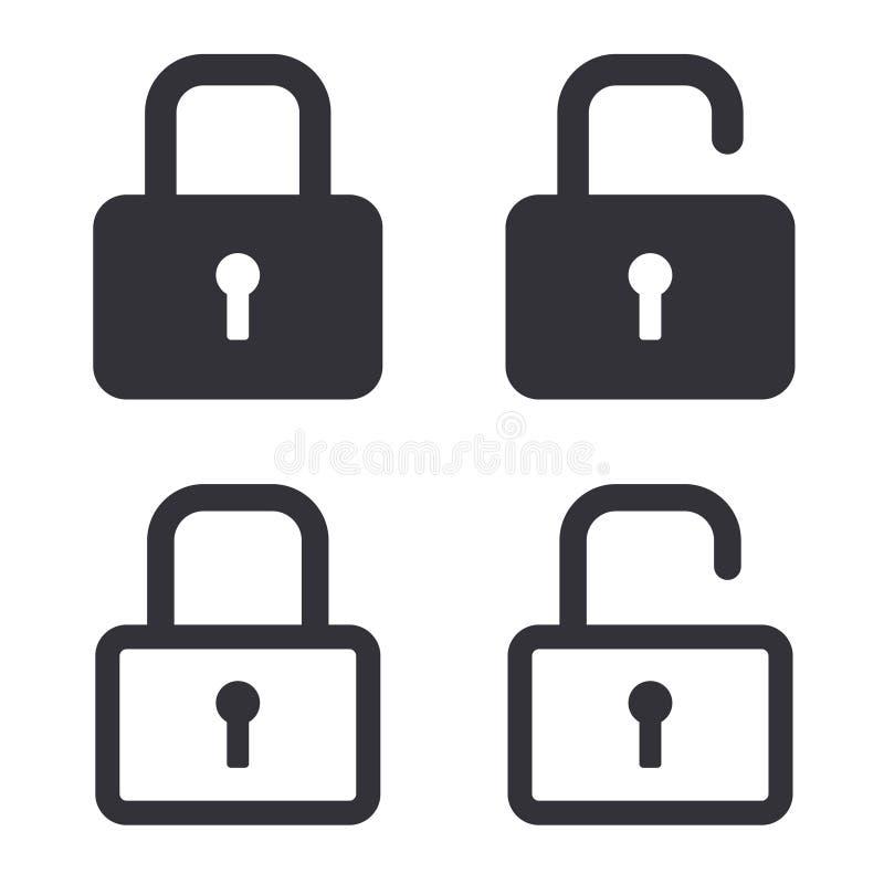 Verschlossene und freigesetzte Vektorikonen des Sicherheitsschlosses stock abbildung