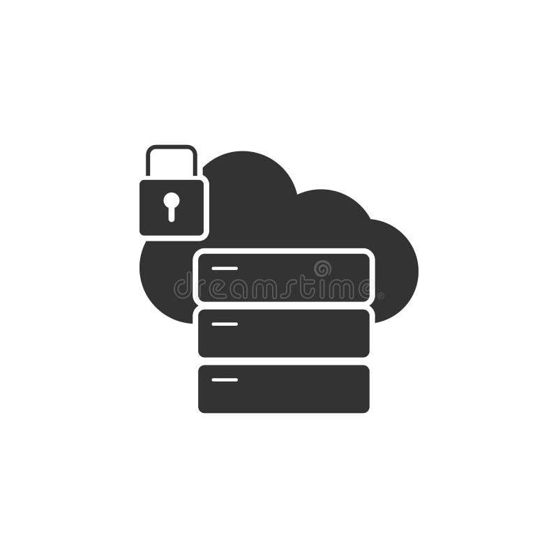 Verschlossene Wolkenserverikone Element der Internet-Sicherheitsikone für mobile Konzept und Netz Apps Ausführliche verschlossene vektor abbildung