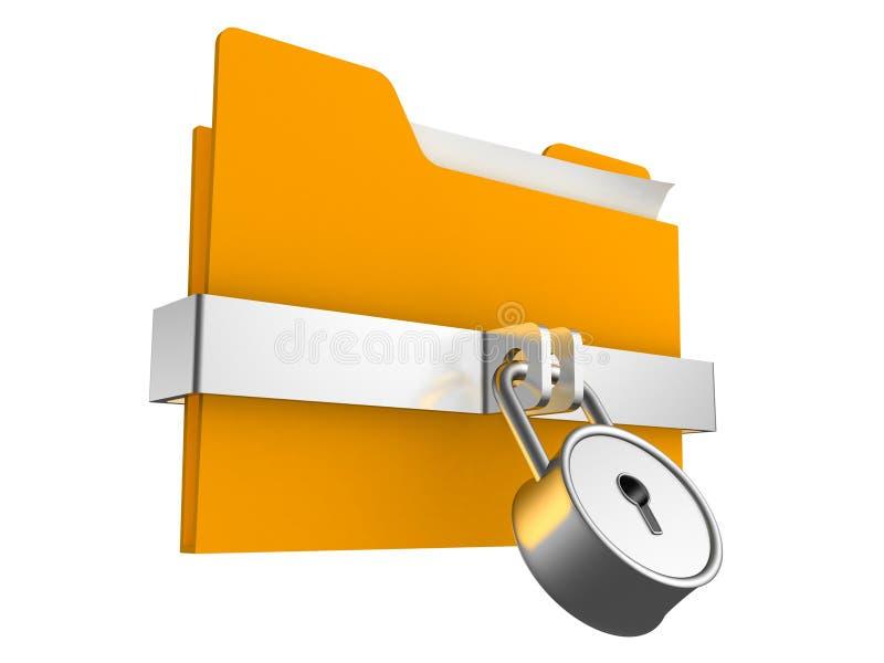 Verschlossenes orange Faltblatt mit Vorhängeschloß lizenzfreie abbildung
