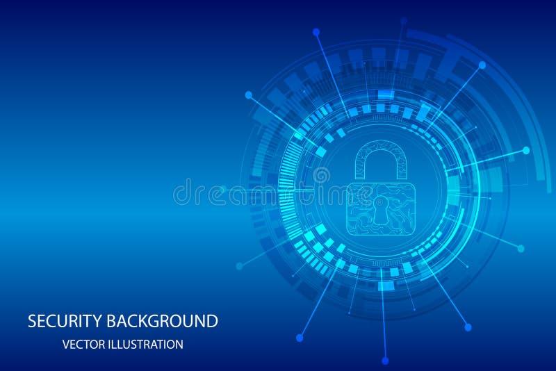 Verschluss auf Technologiehintergrund Das Wort der roten Farbe gelegen ?ber Text der wei?en Farbe Illustration Vektor vektor abbildung