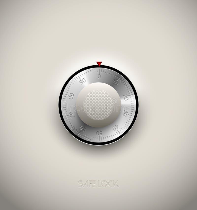 Verschlussmetall- und -plastikelement der realistischen Kombination sicheres auf weißem Hintergrund Runde Skala des Edelstahls Ve vektor abbildung
