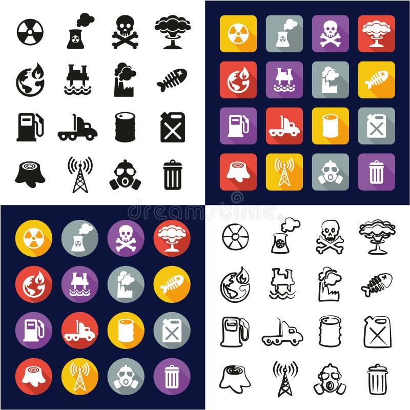 Verschmutzung alle in den Ikonen eine schwarz u. im weiße Farbflachen Design freihändig eingestellt stock abbildung