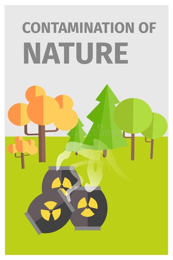 Verschmutzung der Natur im Wald mit Chemikalien vektor abbildung