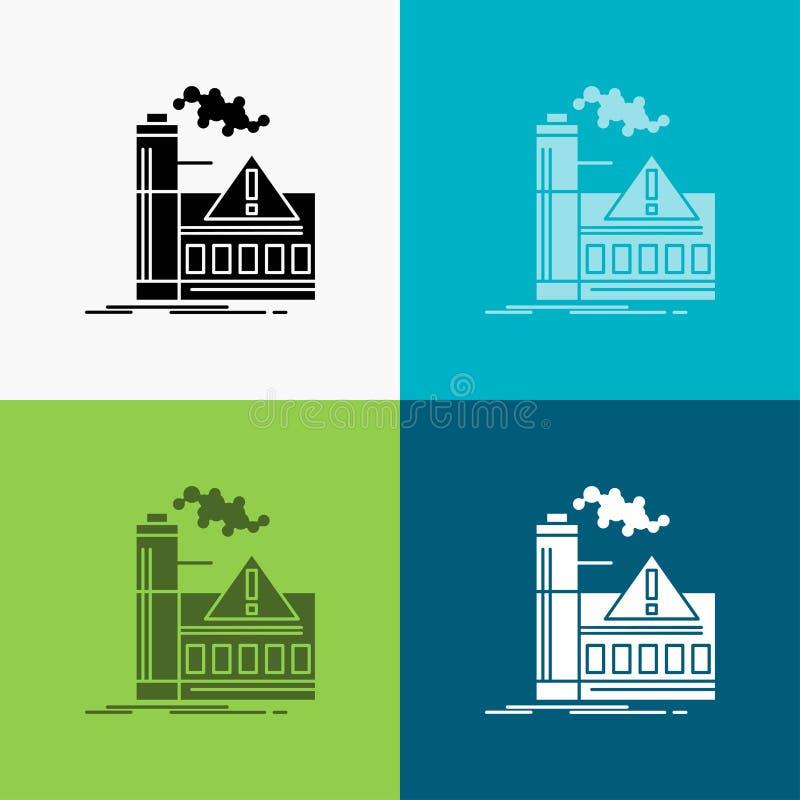 Verschmutzung, Fabrik, Luft, Alarm, Industrie Ikone ?ber verschiedenem Hintergrund Glyphartdesign, bestimmt f?r Netz und APP Vekt lizenzfreie abbildung