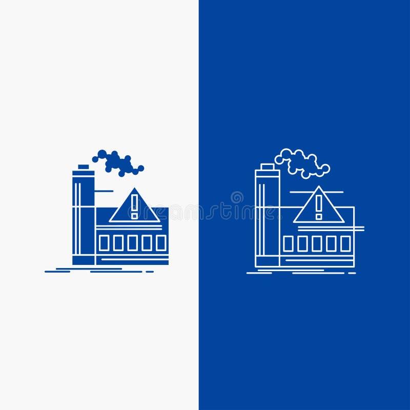 Verschmutzung, Fabrik, Luft, Alarm, Industrie Linien- und Glyphnetz Knopf in der blaue Farbevertikalen Fahne für UI und UX, Websi lizenzfreie abbildung