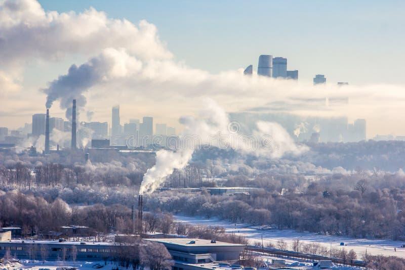 Verschmutzung von Moskau stockbild