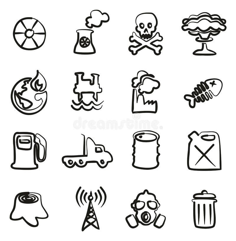 Verschmutzungs-Ikonen freihändig lizenzfreie abbildung