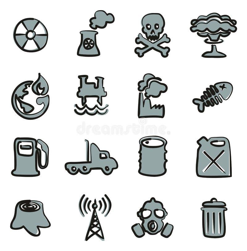 Verschmutzungs-Ikonen-freihändig Farbe 2 lizenzfreie abbildung