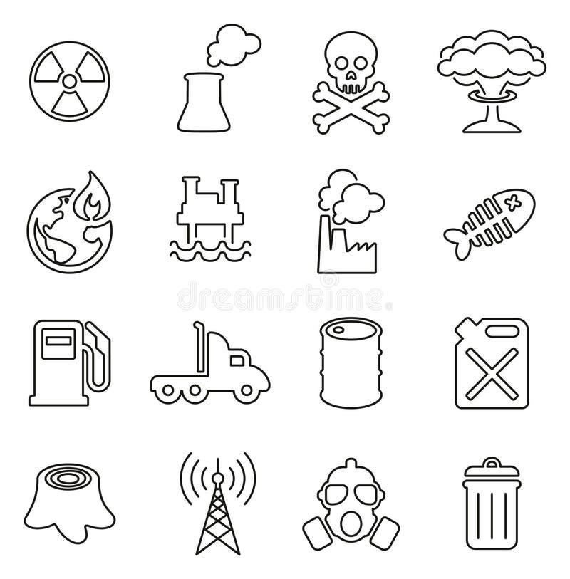 Verschmutzungs-oder Verschmutzungs-Ikonen verdünnen Linie Vektor-Illustrations-Satz vektor abbildung