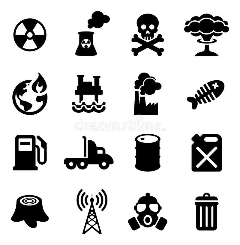 Verschmutzungsikonen lizenzfreie abbildung