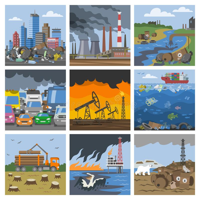 Verschmutzungsumweltvektor verunreinigte Luftsmog oder giftigen Rauch des Industriestadtillustrations-Stadtbildsatzes von vektor abbildung