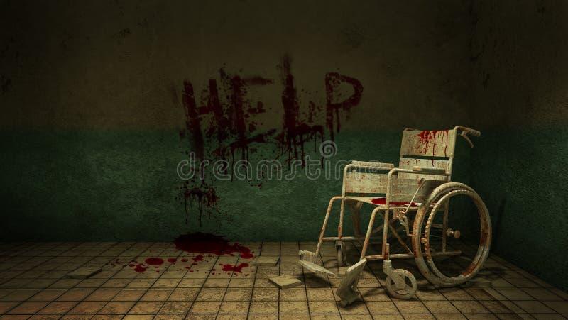 Verschrikking en griezelige gangmanier en rolstoel voor de onderzoeksruimte in het ziekenhuis en het hulpbloed het 3d teruggeven stock illustratie