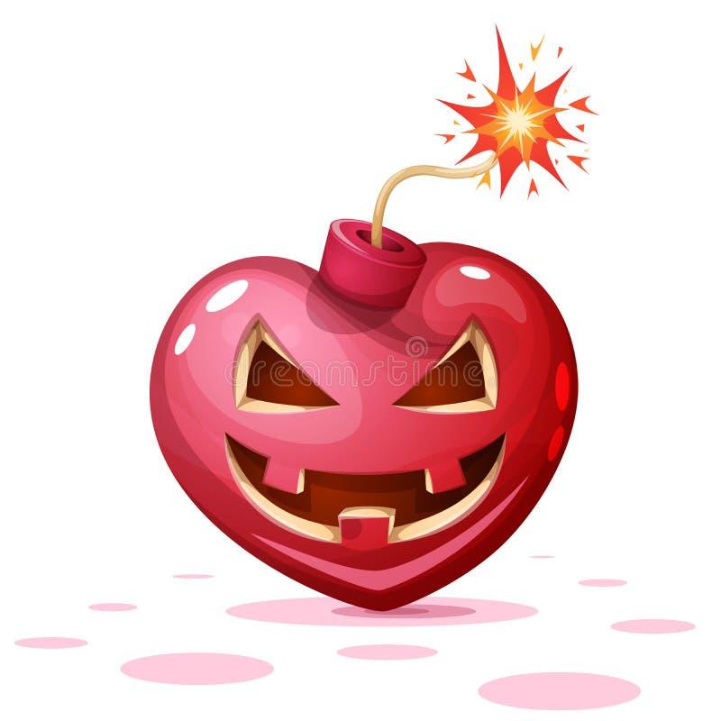 Verschrikking, vrees, Halloween-illustratie Hart, pompoen, de karakters van het bombeeldverhaal stock illustratie