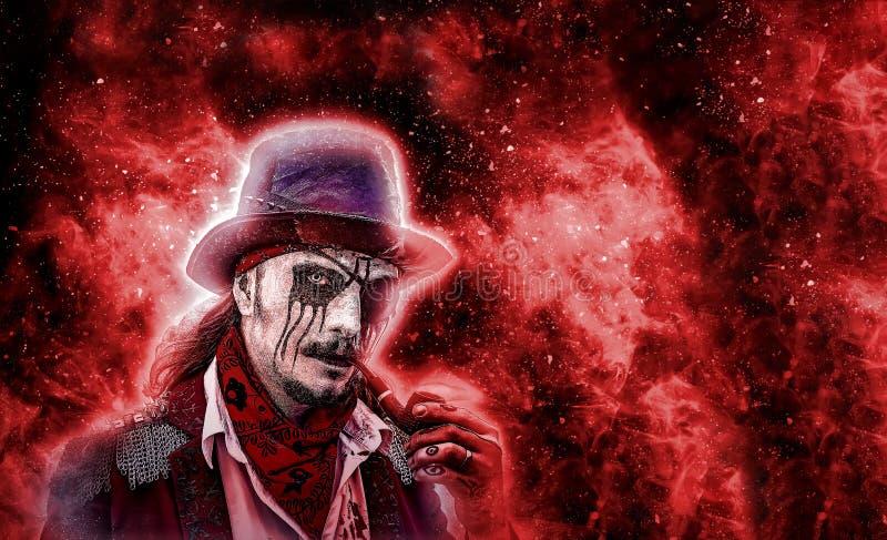 Verschrikkings nieuw karakter Agressieve boze die piraat met pijp in mond, van de doden is toegenomen brand en vlam rond het kara stock afbeelding
