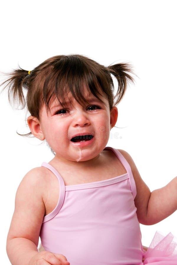 Verschrobes trauriges schreiendes Schätzchenkleinkindgesicht lizenzfreie stockfotografie